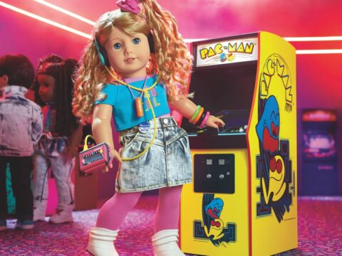 Unique American Doll woman, a Pac-Man champion, has working arcade cupboard